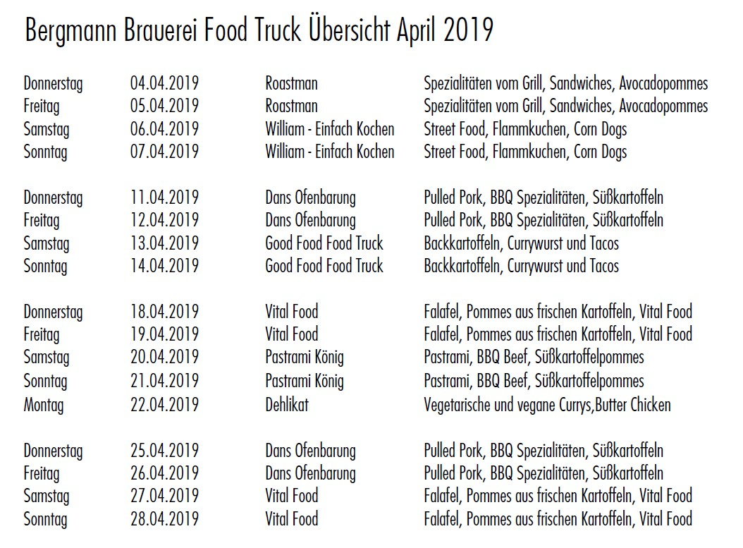 Food Truck Übersicht April 2019